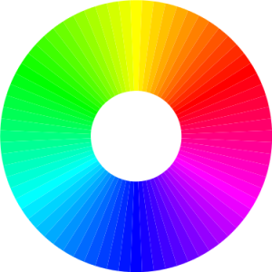A more complex colour wheel using different colour mixes