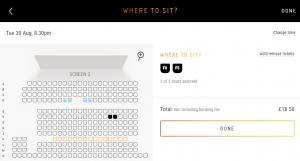 Vue cinema seat select screen