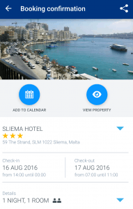 booking com app hotel confirmation