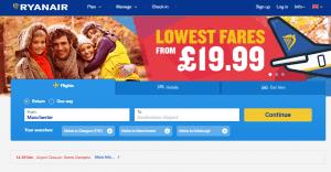 Ryanair search screen