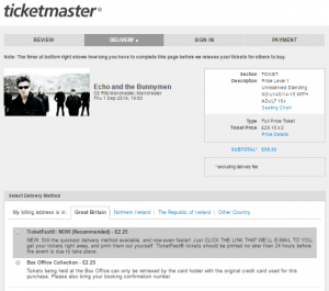 The ticketmaster screen is split in to for screens --Review, Delivery, Sign-in and Payment