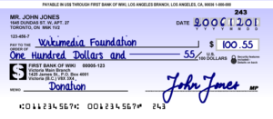 A cheque with MICR numbers printed along the bottom of the cheque