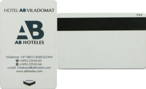 A magnetic card issued by a hotel for room access.