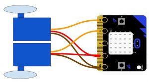 Microbit mini radio controlled car with servos wiring