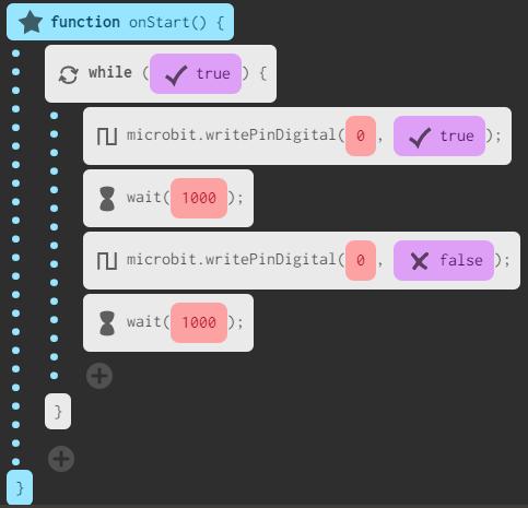 flashing led microbit code javascript