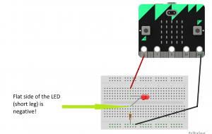 microbit single led with breadboard