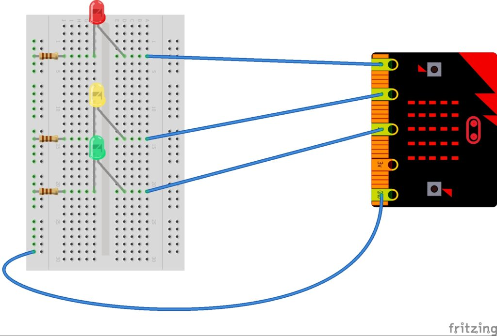 Wiring up 3 leds to the Microbit using a breadboard